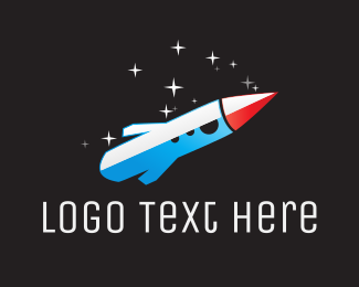 Exploration - Blue Space Rocket  logo design