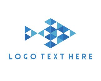 Fish Market - Geometric Fish logo design