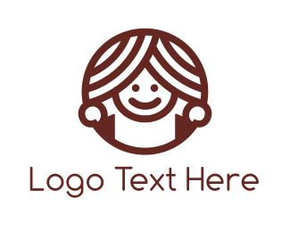 Brown Boy - Donut Girl logo design