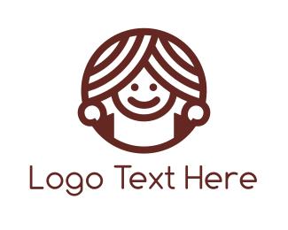 Happiness - Donut Girl logo design
