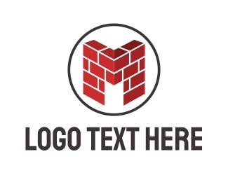 Wall - M Wall logo design
