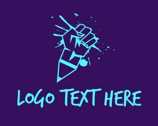Pop Icon - Neon Graffiti Fist logo design