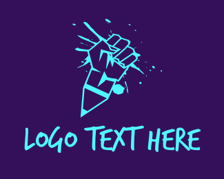 Revolution - Neon Graffiti Fist logo design