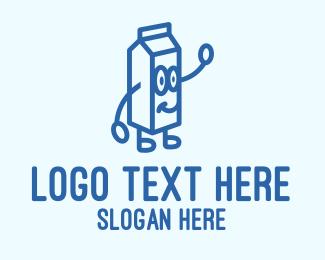 Dairy Farmer - Happy Milk Carton logo design