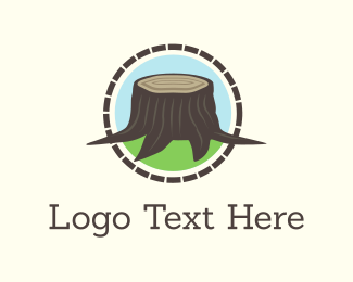 Grass - Wood Stump logo design