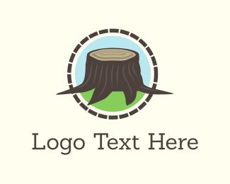 Log - Wood Stump logo design