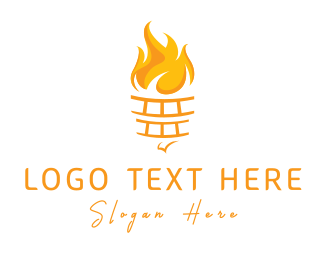 Yellow Fire - Yellow Torch logo design