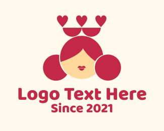 Queen - Queen of Hearts Mascot logo design