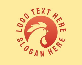 Bbq Chicken - Red Chicken Circle logo design