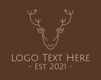 Deer Head - Minimalist Reindeer  logo design