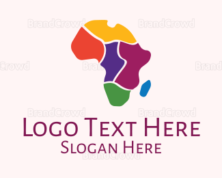 Map - Colorful African Map logo design