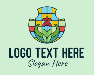 Home Garden - Stained Glass Flower logo design