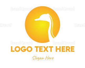 Goose - Ostrich Sun logo design