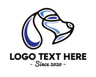 Terrier - Abstract Blue Dog Outline  logo design