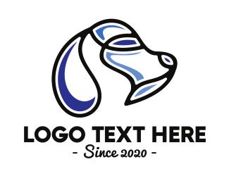 K9 - Abstract Blue Dog Outline logo design