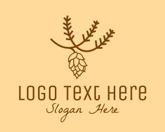 Botanical Product - Brown Pinecone Outline logo design