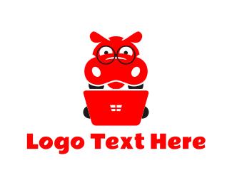 Hippo - Nerd Hippo logo design