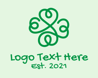 Saint Patrick - Shamrock Heart Scribble logo design