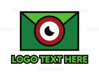 Messenger - Green Envelope Camera logo design