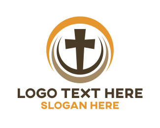 Crucifixion - Religious Wood Cross logo design
