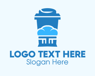 Takeaway Cup - Blue Cloud Drinking Cup logo design