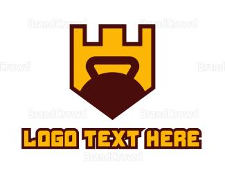 Kettlebell - Fitness  Kettlebell Shield logo design