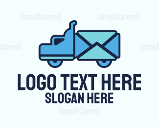 Distribution - Blue Mail Truck logo design