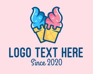 Ice - Pink Blue Ice Cream logo design