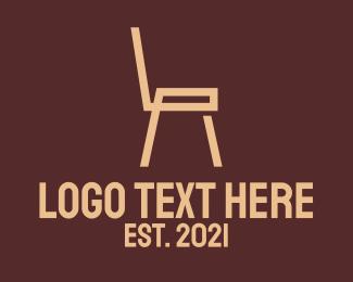 Wooden - Brown Wooden Chair logo design