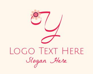 Calligraphy - Pink Flower Letter Y logo design