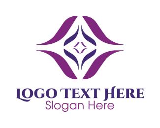 Purple Flower - Violet Diamond Star logo design