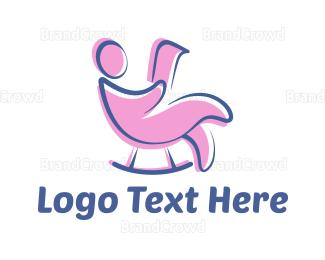 Blue And Pink - Pink Rocking Chair logo design