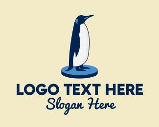 Penguin - Standing Blue Penguin logo design