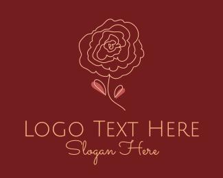 Dahlia - Rose Bloom Outline logo design