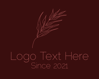 Palm Leaf - Dainty Branch Outline logo design