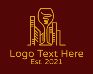 Real Estate - City Wine Glass logo design