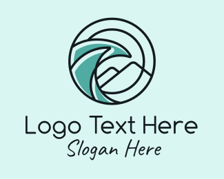Tide - Mountain Waves Badge logo design