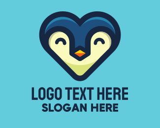 Zoo Animal - Happy Heart Penguin logo design
