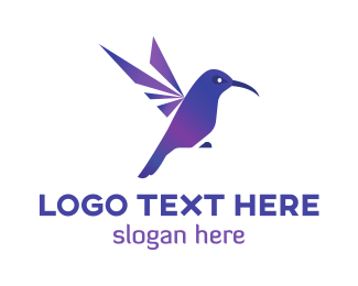 Colibri - Purple Hummingbird  logo design