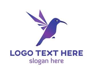 Hummingbird - Purple Hummingbird  logo design