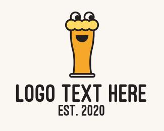 Funny - Happy Beer Glass Mascot logo design