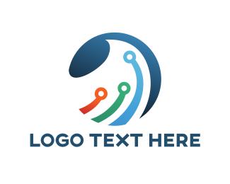 Global - Circuit Wave logo design