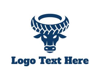 Cow - Wheel Bull logo design