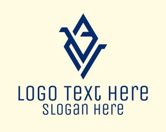 Triangles - Blue Diamond Letter V logo design