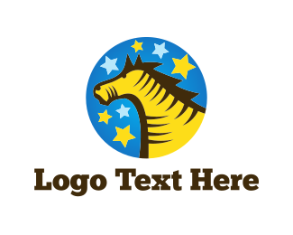 Trojan - Yellow Horse logo design