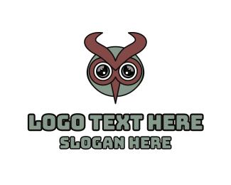Night Watch - Modern Owl Horns  logo design