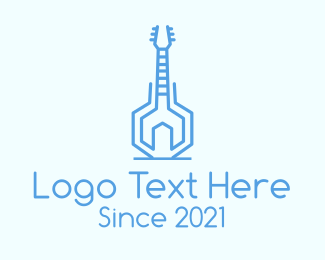 Guitar - Blue Abstract Guitar logo design