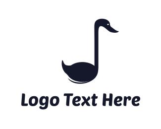 Goose - Musical Swan logo design