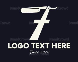 Blade - Barber Blade Number 7 logo design