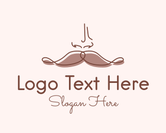 Mens Grooming - Brown Mustache Man logo design